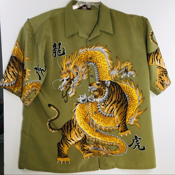 98174ab7d Awesome Japanese flare shirt with dragon/tiger. M_5bf6cac5de6f62fc186431c2